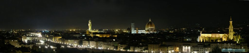 Panorama-Firenze-notturno, dal Piazzale Michelangelo