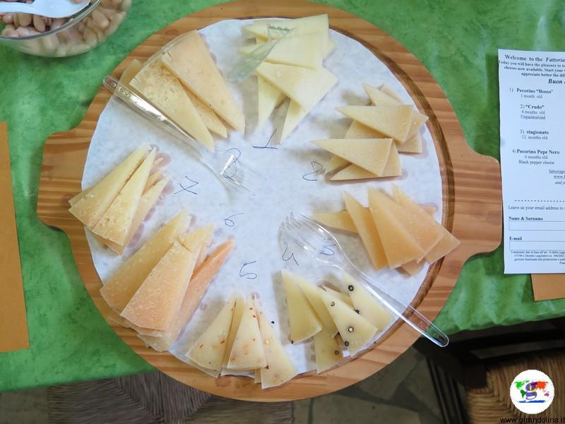 Una tipica degustazione di formaggi alla Fattoria PianPorcino