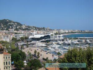 Piazza della Castre, panorama sulla Baia di Cannes, il Palazzo del Festival del Cinema