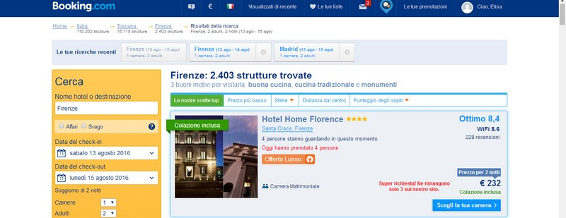 Booking Hotel Home Florence