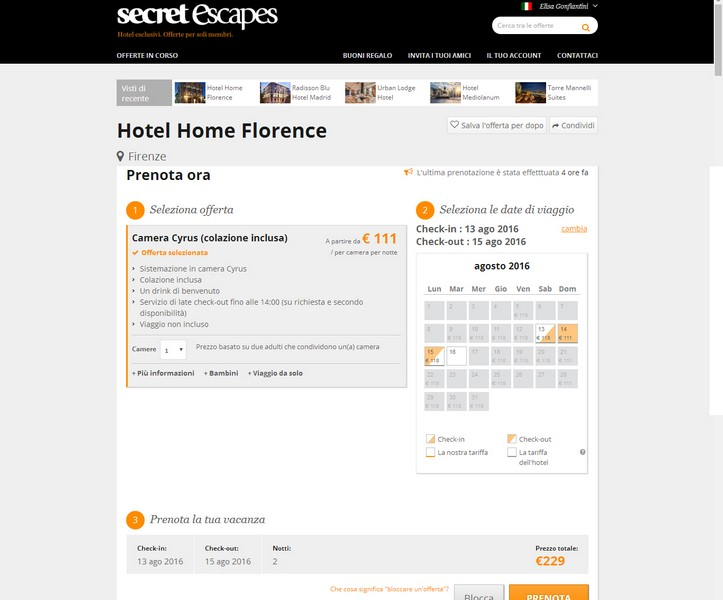 Secret Escape Hotel Home Florence