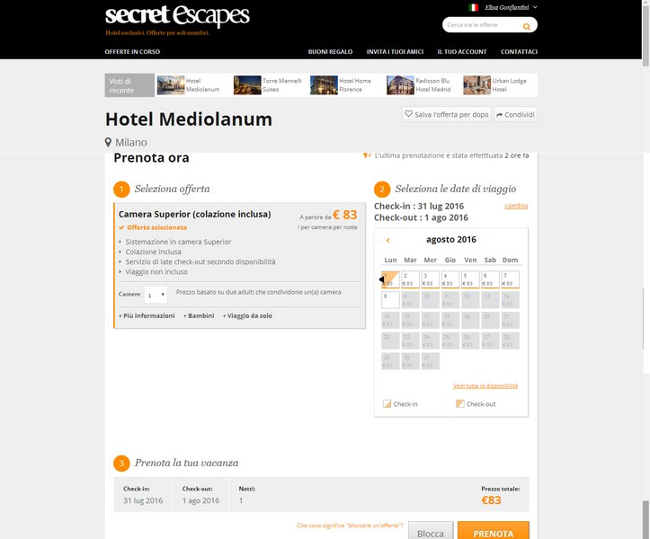 Secret Escapes Hotel Mediolanum