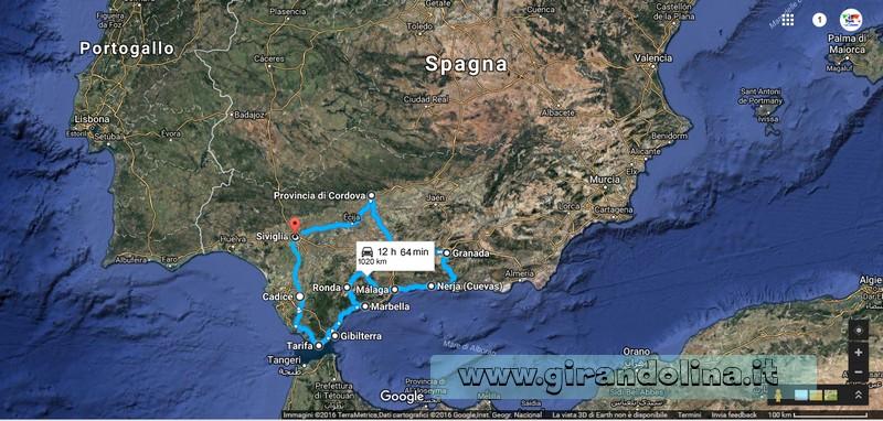 La mappa di #girandoandalusia