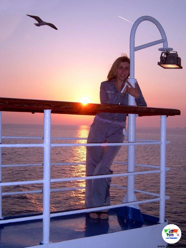 Isola d'Elba e il tramonto dal traghetto
