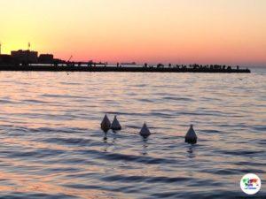 Il Molo audace di Trieste al tramonto