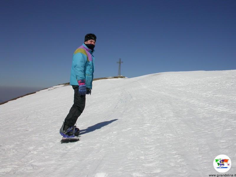 Abetone e il suo complesso sciistico- Alessio sullo snowboard