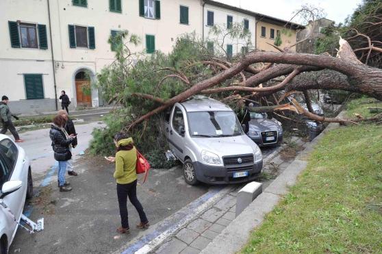 Piazza del Carmine danneggiata ( photo credits pagina facebook Meteo Pistoia)