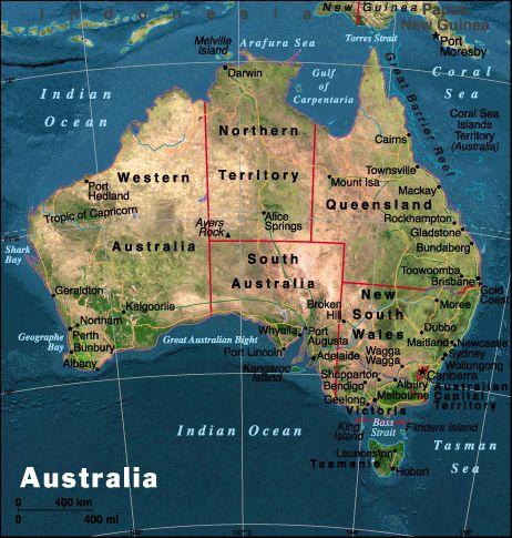 La mappa dell 'Australia