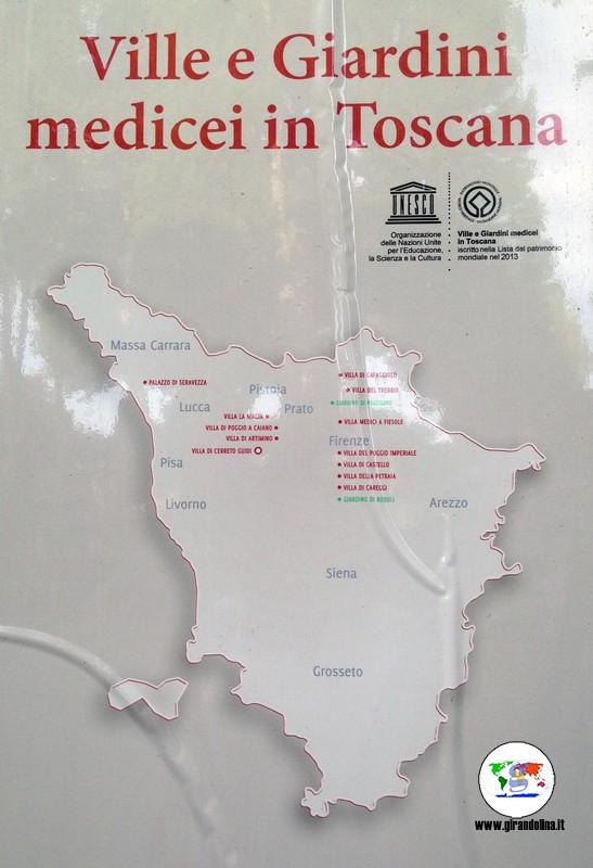 Le Ville Medicee in Toscana - la mappa