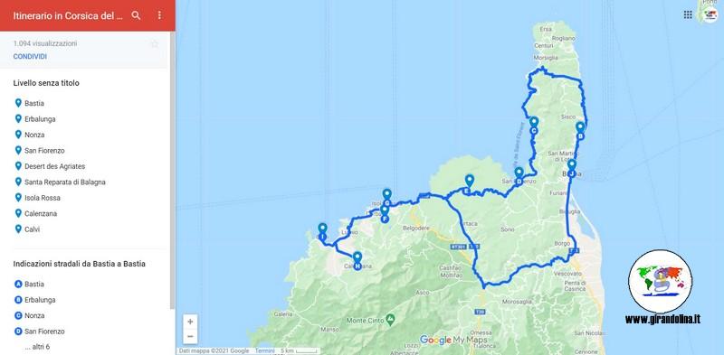 Itinerari  con auto Corsica del Nord, mappa